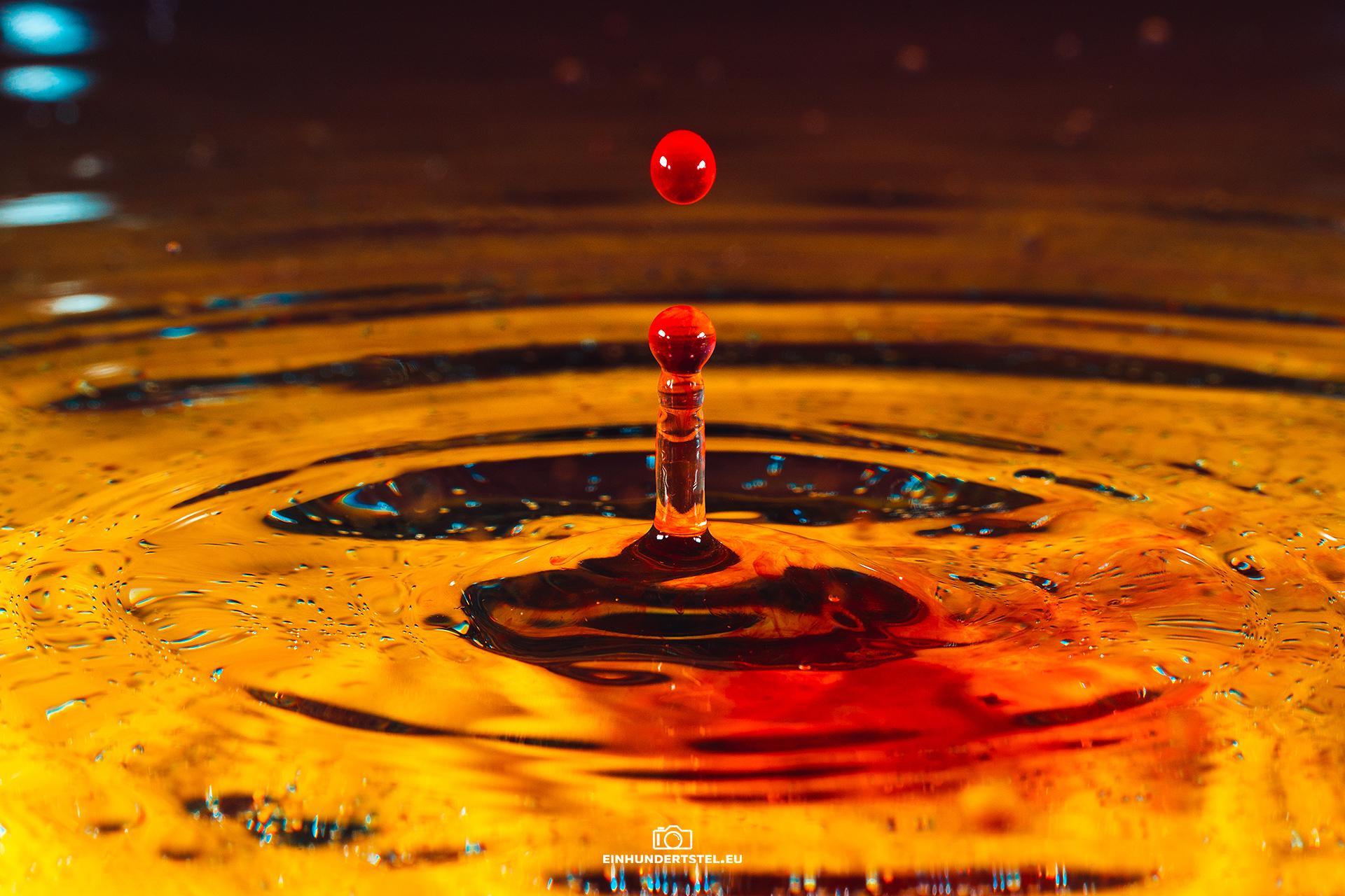 Roter Wasserspritzer in goldenem Wasser.